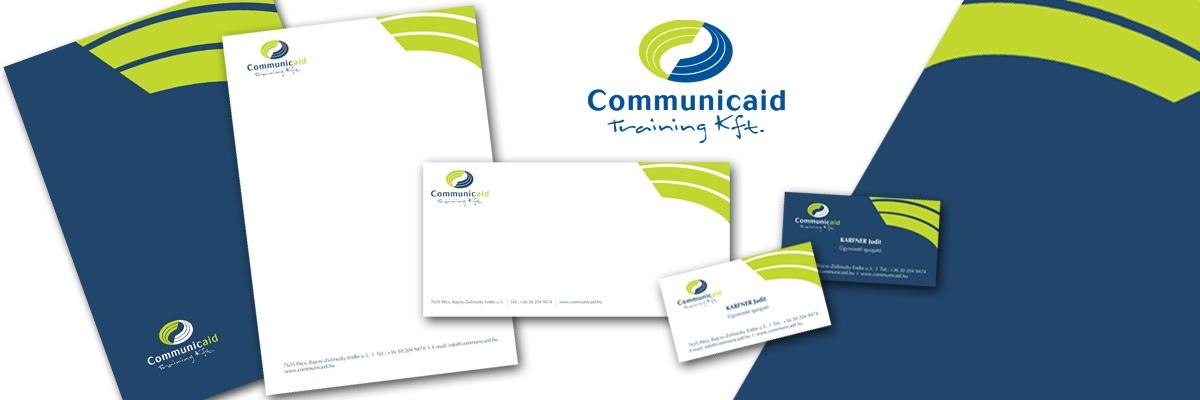 Communicaid Training Kft. - Arculattervezés (logo, névjegykártya, boríték, levélpapír, mappa)