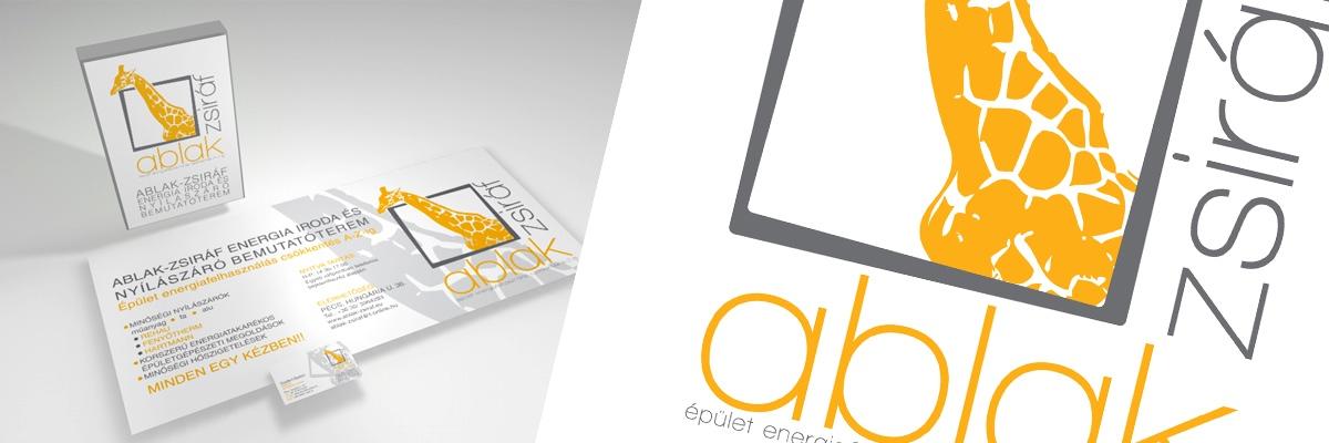 Ablak-zsiráf energia iroda és nyílászáró bemutatóterem - arculattervezés (logo, névjegy, molino, világítótábla)