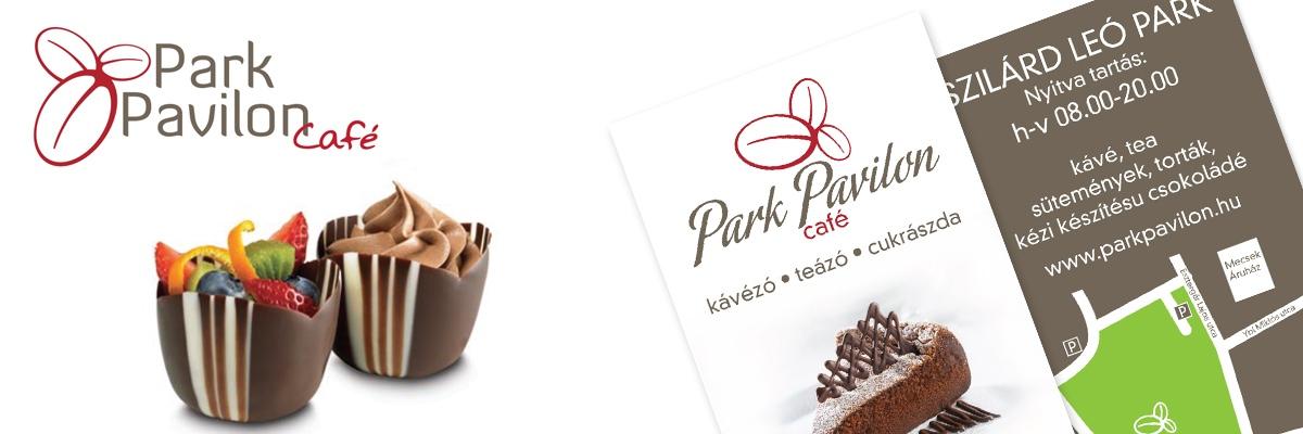 Park Pavilon Café - arculattervezés (logo, névjegykártya, plakátok, üzletdekor)