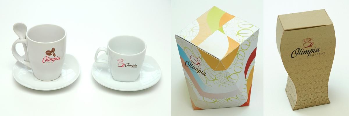 Olimpia Kávéház - fagyisdoboz, kávé csomagolás és csészetervek