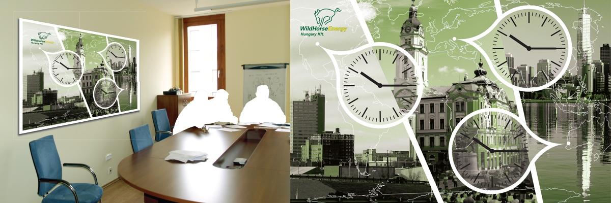 Wildhorse Energy - iroda dekoráció három órával
